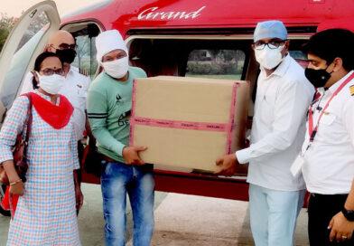 कोरोना कहर के बीच : हेलीकॉप्टर से होशंगाबाद पहुँचे रेमडेसिविर इंजेक्शन के 4 बॉक्स , हर थाने पर तैनात होंगे RRT डॉक्टर